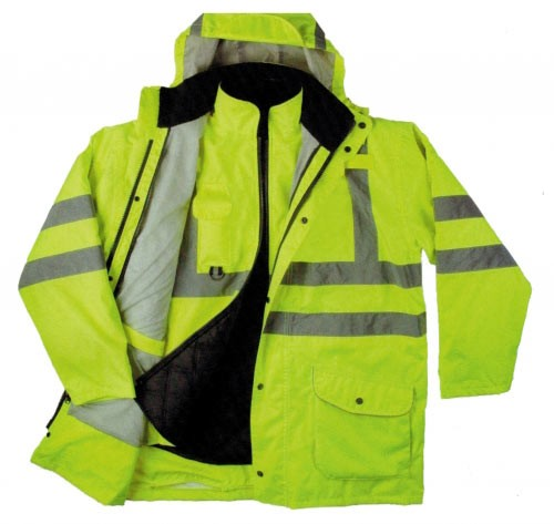 Bright fluorescent green 6 in 1 jacket with hood