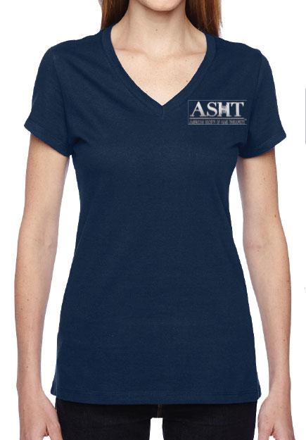 ASHT logo on ladies junior V neck T-Shirt