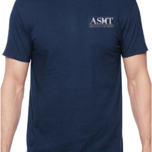 ASHT logo on a blue t-shirt